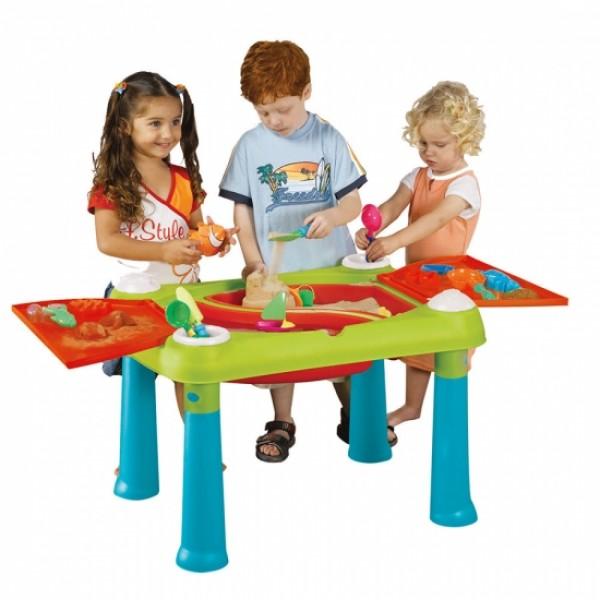 KETER Стол CREATIVE для детского творчества и игры с водой и песком, Бирюзовый/Красный