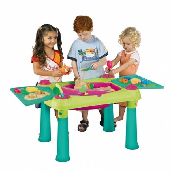 KETER Стол CREATIVE для детского творчества и игры с водой и песком, Зеленый/Фиолетовый