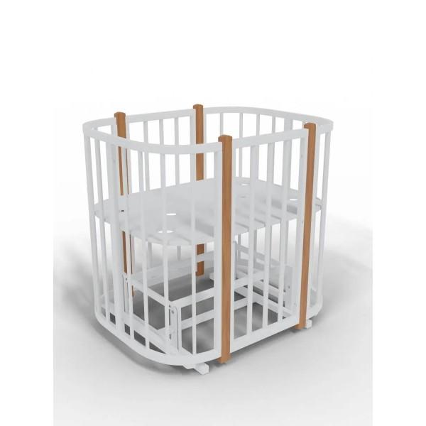 Кроватка детская Viola Lux c маятником, белый-бук