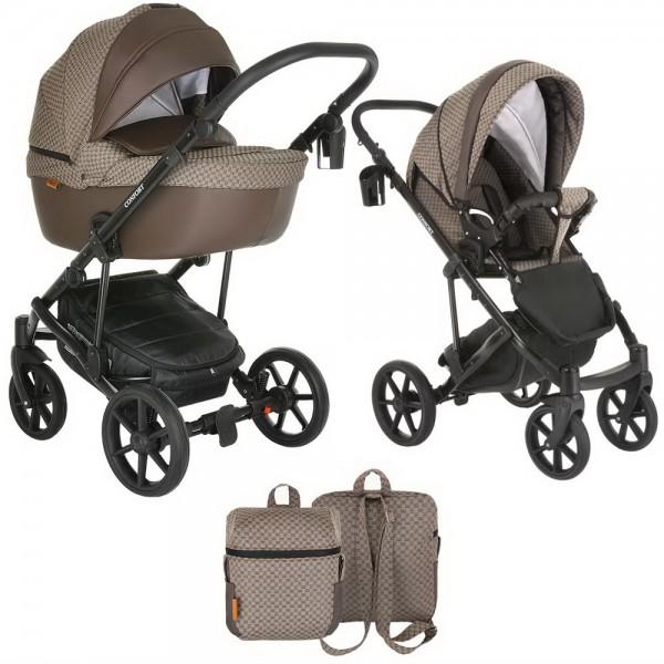 Коляска Pituso Confort Plus 2в1, Gucci/Кожа темно коричневый